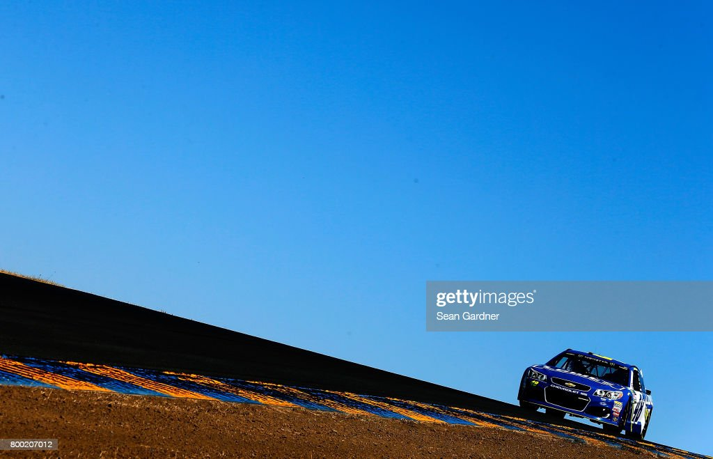 Jimmie Johnson, driver of the #48 Lowe's Chevrolet, drives during practice for the Monster Energy NASCAR Cup Series Toyota/Save Mart 350 at Sonoma Raceway on June 23, 2017 in Sonoma, California.