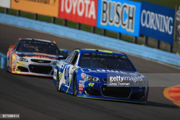 Jimmie Johnson driver of the Lowe's Chevrolet drives during the Monster Energy NASCAR Cup Series I Love NY 355 at The Glen at Watkins Glen...