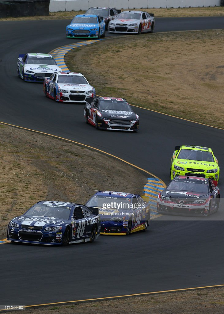 Jimmie Johnson, driver of the #48 Lowe's Chevrolet, drives during the NASCAR Sprint Cup Series Toyota/Save Mart 350 at Sonoma Raceway on June 23, 2013 in Sonoma, California.