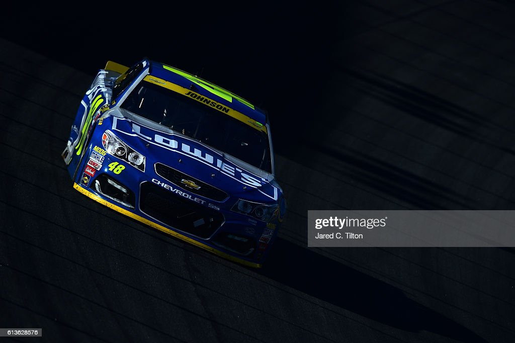 Jimmie Johnson, driver of the #48 Lowe's Chevrolet, drives during the NASCAR Sprint Cup Series Bank of America 500 at Charlotte Motor Speedway on October 9, 2016 in Charlotte, North Carolina.