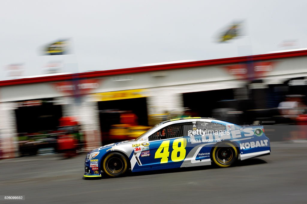 <a gi-track='captionPersonalityLinkClicked' href=/galleries/search?phrase=Jimmie+Johnson+-+Nascar+Race+Driver&family=editorial&specificpeople=171519 ng-click='$event.stopPropagation()'>Jimmie Johnson</a>, driver of the #48 Lowe's Chevrolet, drives through the garage area during practice for the NASCAR Sprint Cup Series GEICO 500 at Talladega Superspeedway on April 29, 2016 in Talladega, Alabama.