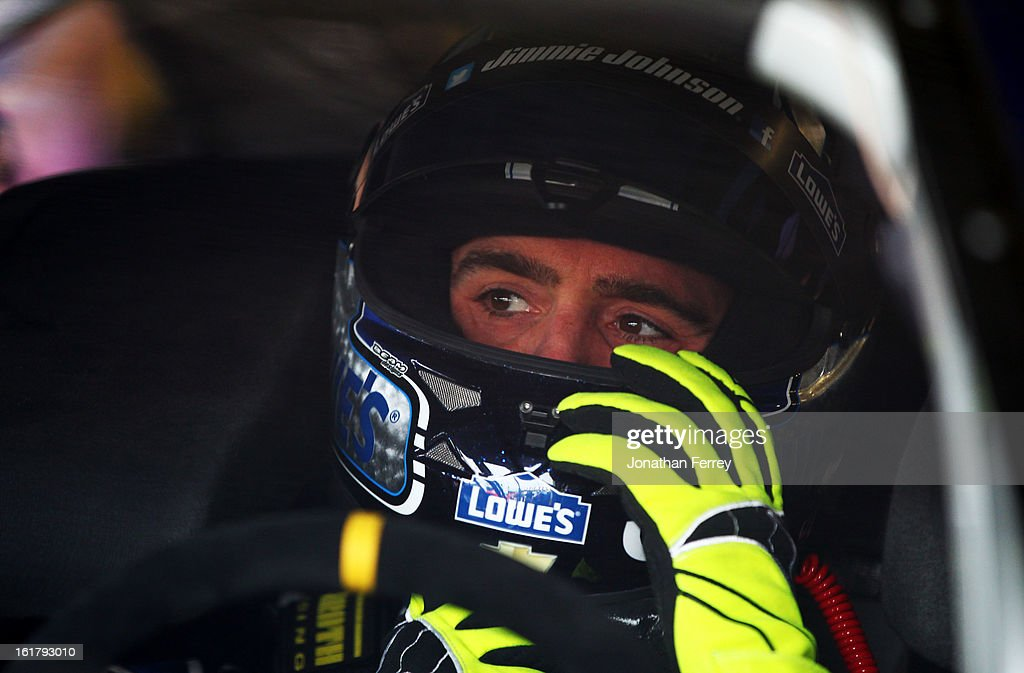 Jimmie Johnson, driver of the #48 Lowe's Chevrolet, during practice for the NASCAR Sprint Cup Series Daytona 500 at Daytona International Speedway on February 16, 2013 in Daytona Beach, Florida