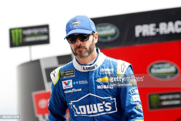 Jimmie Johnson driver of the Lowe's Chevrolet is introduced during prerace festivities before the NASCAR Monster Energy Cup Series Toyota/Save Mart...