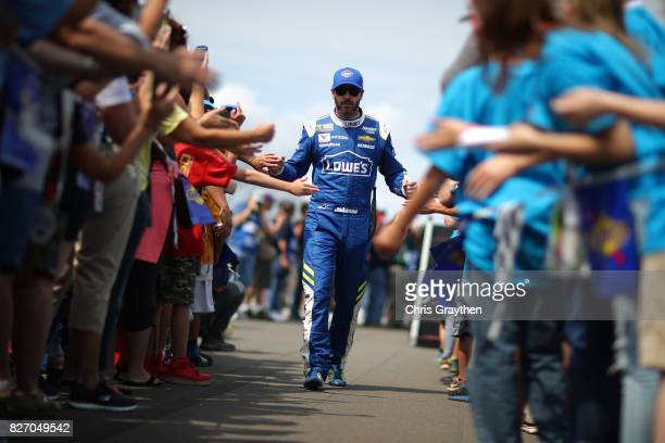 Jimmie Johnson driver of the Lowe's Chevrolet is introduced prior to the Monster Energy NASCAR Cup Series I Love NY 355 at The Glen at Watkins Glen...