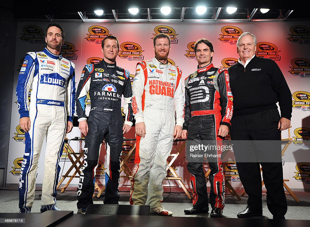 Jimmie Johnson, driver of the #48 Lowes Chevrolet; <a gi-track='captionPersonalityLinkClicked' href=/galleries/search?phrase=Kasey+Kahne&family=editorial&specificpeople=183374 ng-click='$event.stopPropagation()'>Kasey Kahne</a>, driver of the #5 Farmers Insurance Chevrolet; <a gi-track='captionPersonalityLinkClicked' href=/galleries/search?phrase=Dale+Earnhardt+Jr.&family=editorial&specificpeople=171293 ng-click='$event.stopPropagation()'>Dale Earnhardt Jr.</a>, driver of the #88 National Guard Chevrolet; <a gi-track='captionPersonalityLinkClicked' href=/galleries/search?phrase=Jeff+Gordon&family=editorial&specificpeople=171491 ng-click='$event.stopPropagation()'>Jeff Gordon</a>, driver of the #24 Drive to End Hunger Chevrolet; and team owner <a gi-track='captionPersonalityLinkClicked' href=/galleries/search?phrase=Rick+Hendrick&family=editorial&specificpeople=596436 ng-click='$event.stopPropagation()'>Rick Hendrick</a> pose for the media during the NASCAR Sprint Media Tour at Charlotte Convention Center on January 28, 2014 in Charlotte, North Carolina.