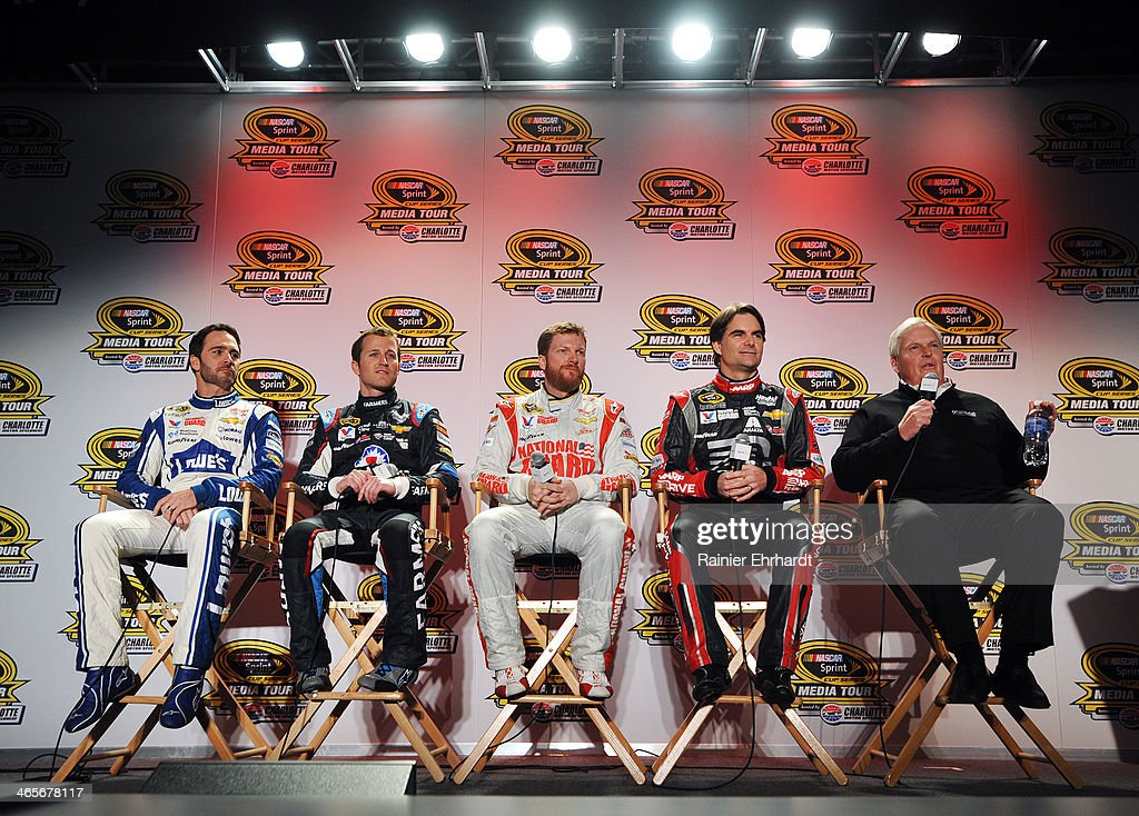 Jimmie Johnson, driver of the #48 Lowes Chevrolet; Kasey Kahne, driver of the #5 Farmers Insurance Chevrolet; Dale Earnhardt Jr., driver of the #88 National Guard Chevrolet; Jeff Gordon, driver of the #24 Drive to End Hunger Chevrolet; and team owner Rick Hendrick speak to the media during the NASCAR Sprint Media Tour at Charlotte Convention Center on January 28, 2014 in Charlotte, North Carolina.