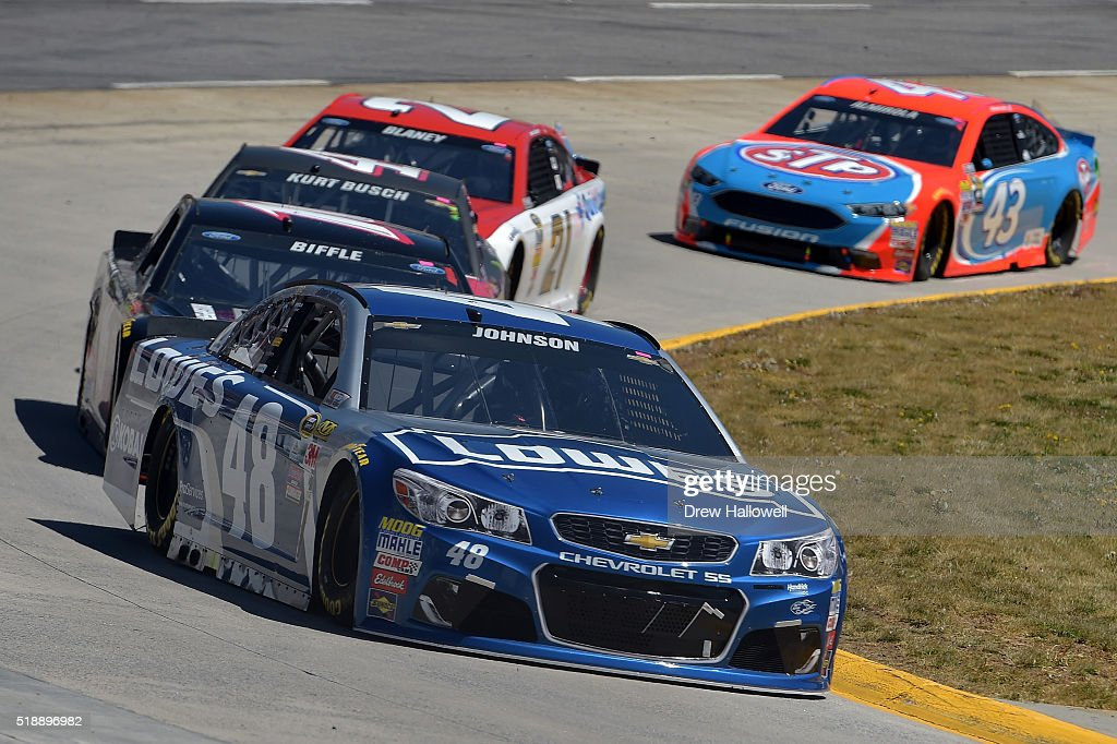 jimmie johnson driver of the 48 lowe 39 s chevrolet leads a pack of. Cars Review. Best American Auto & Cars Review