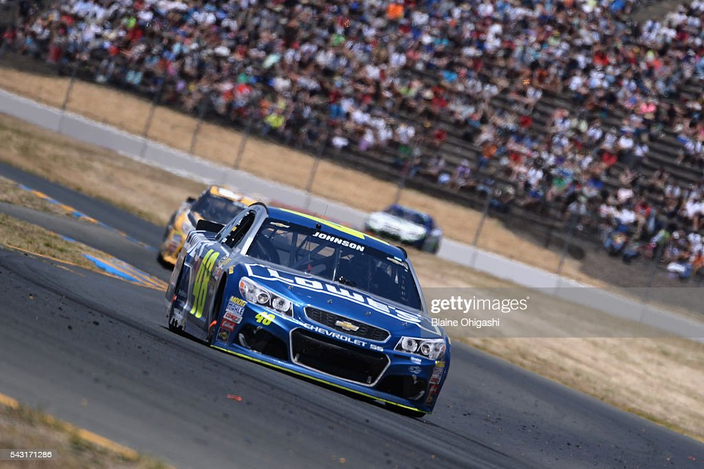 <a gi-track='captionPersonalityLinkClicked' href=/galleries/search?phrase=Jimmie+Johnson+-+Nascar+Race+Driver&family=editorial&specificpeople=171519 ng-click='$event.stopPropagation()'>Jimmie Johnson</a>, driver of the #48 Lowe's Chevrolet, leads a pack of cars during the NASCAR Sprint Cup Series Toyota/Save Mart 350 at Sonoma Raceway on June 26, 2016 in Sonoma, California.