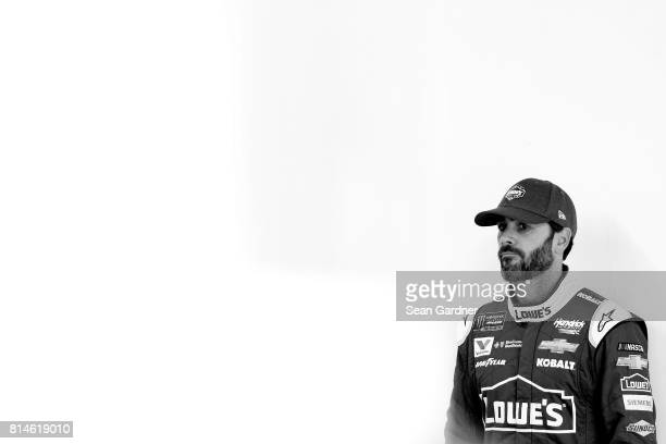 Jimmie Johnson driver of the Lowe's Chevrolet looks on during qualifying for the Monster Energy NASCAR Cup Series Overton's 301 at New Hampshire...