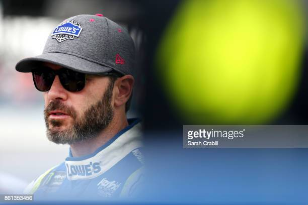 Jimmie Johnson driver of the Lowe's Chevrolet looks on during qualifying for the Monster Energy NASCAR Cup Series Alabama 500 at Talladega...
