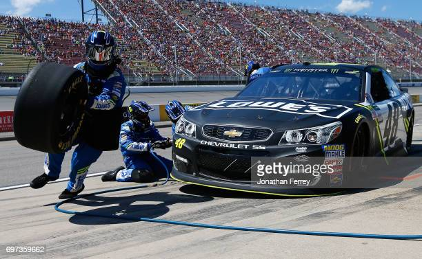 Jimmie Johnson driver of the Lowe's Chevrolet pits during the Monster Energy NASCAR Cup Series FireKeepers Casino 400 at Michigan International...
