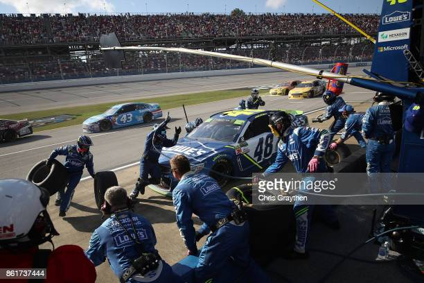 Jimmie Johnson driver of the Lowe's Chevrolet pits during the Monster Energy NASCAR Cup Series Alabama 500 at Talladega Superspeedway on October 15...