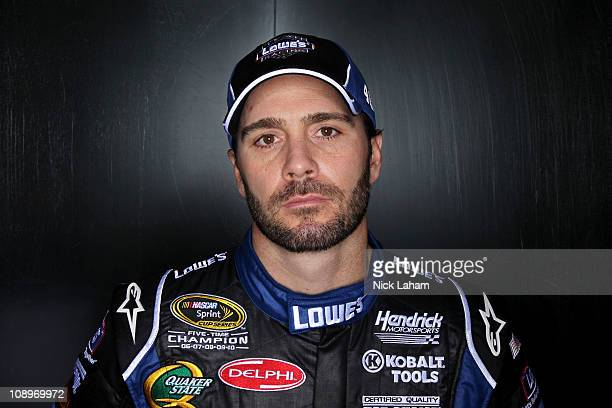 Jimmie Johnson driver of the Lowe's Chevrolet poses during the 2011 NASCAR Sprint Cup Series Media Day at Daytona International Speedway on February...