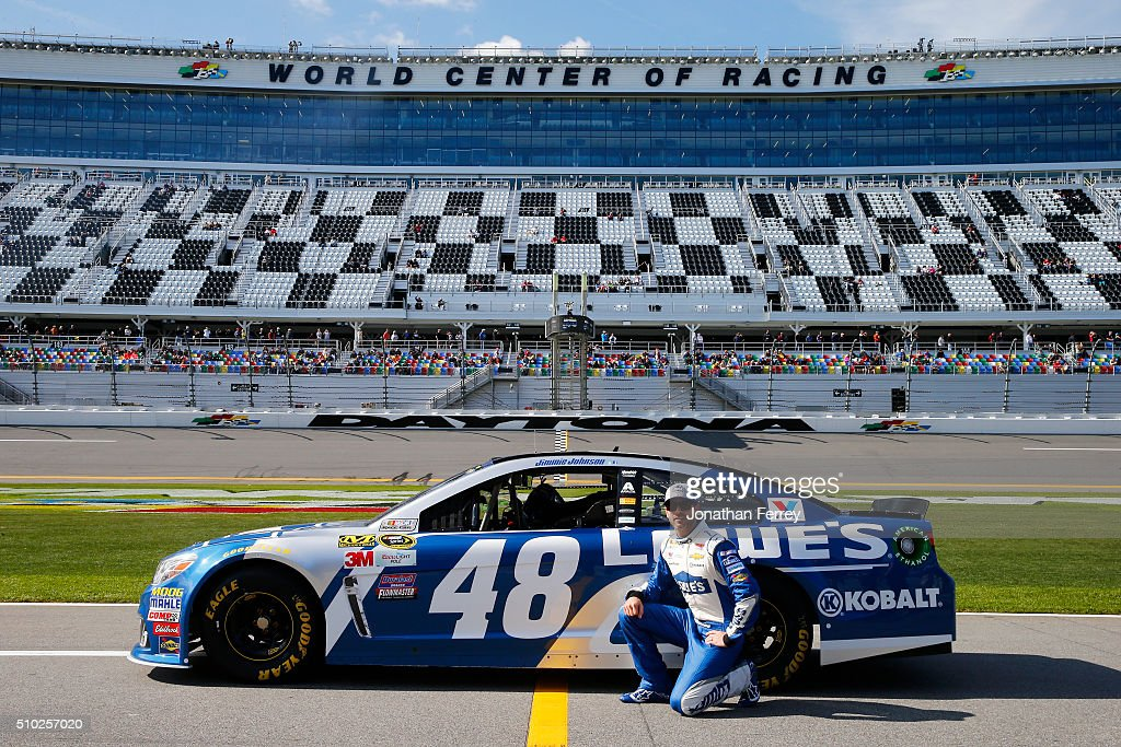 <a gi-track='captionPersonalityLinkClicked' href=/galleries/search?phrase=Jimmie+Johnson+-+Nascar+Race+Driver&family=editorial&specificpeople=171519 ng-click='$event.stopPropagation()'>Jimmie Johnson</a>, driver of the #48 Lowe's Chevrolet, poses with his car after qualifying for the NASCAR Sprint Cup Series Daytona 500 at Daytona International Speedway on February 14, 2016 in Daytona Beach, Florida.