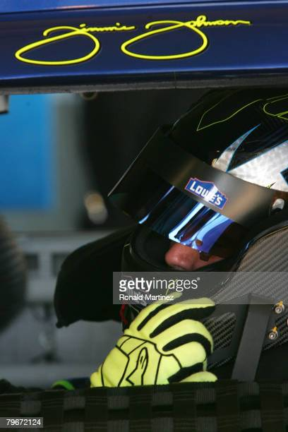 Jimmie Johnson driver of the Lowe's Chevrolet practices for the Budweiser Shootout at Daytona International Speedway on February 8 2008 in Daytona...