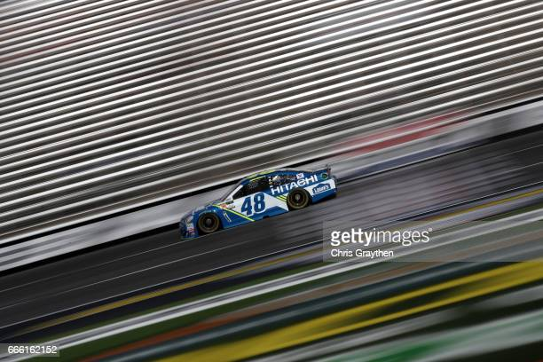 Jimmie Johnson driver of the Lowe's Chevrolet practices for the Monster Energy NASCAR Cup Series O'Reilly Auto Parts 500 at Texas Motor Speedway on...