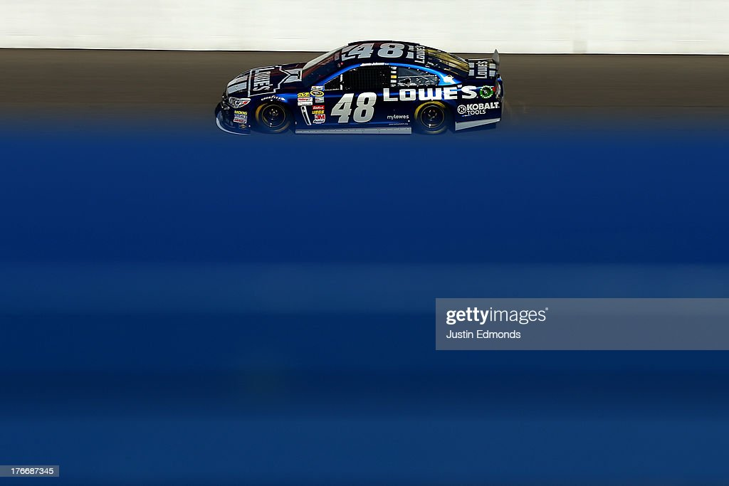 Jimmie Johnson, driver of the #48 Lowe's Chevrolet, practices for the NASCAR Sprint Cup Series 44th Annual Pure Michigan 400 at Michigan International Speedway on August 17, 2013 in Brooklyn, Michigan.
