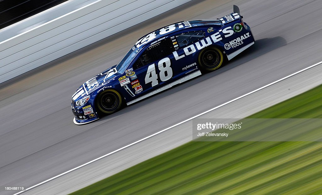 Jimmie Johnson, driver of the #48 Lowe's Chevrolet, practices for the NASCAR Sprint Cup Series Geico 400 at Chicagoland Speedway on September 13, 2013 in Joliet, Illinois.
