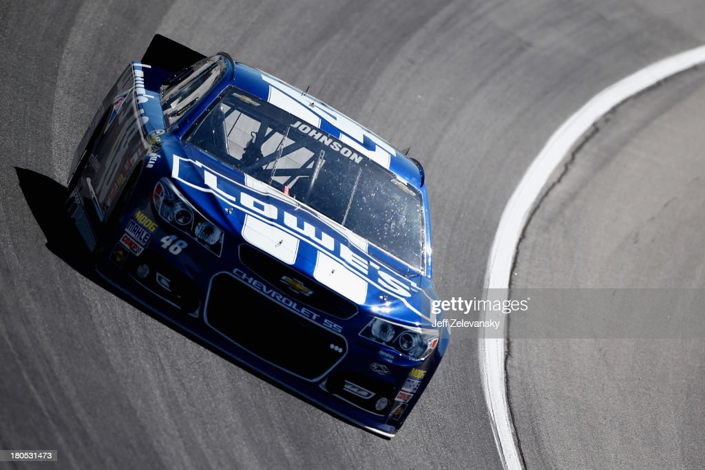 Jimmie Johnson, driver of the #48 Lowe's Chevrolet, practices for the NASCAR Sprint Cup Series Geico 400 at Chicagoland Speedway on September 14, 2013 in Joliet, Illinois.