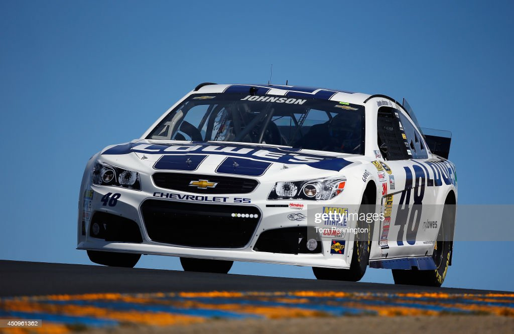 Jimmie Johnson, driver of the #48 Lowe's Chevrolet, practices for the NASCAR Sprint Cup Series Toyota/Save Mart 350 at Sonoma Raceway on June 20, 2014 in Sonoma, California.