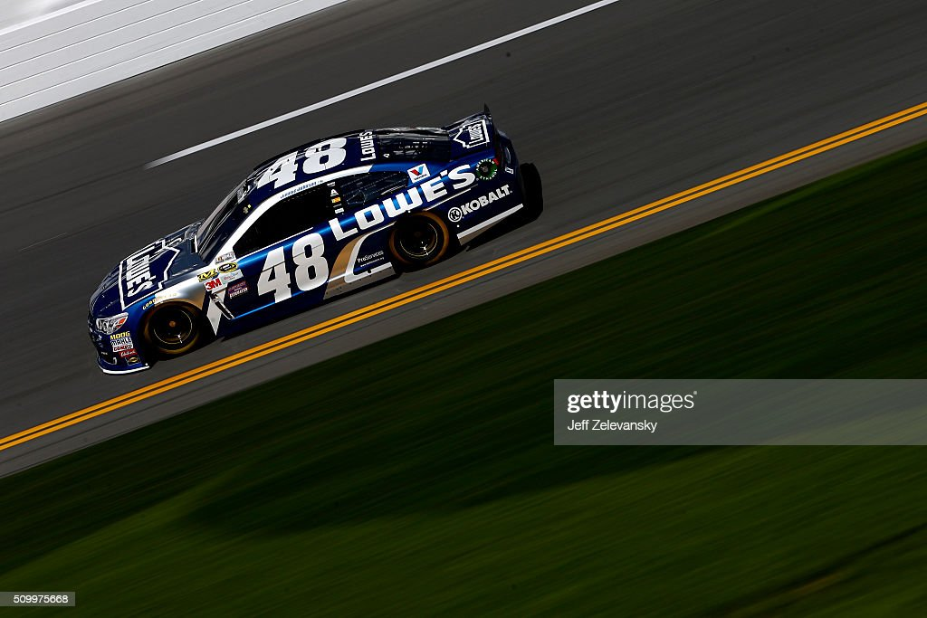 <a gi-track='captionPersonalityLinkClicked' href=/galleries/search?phrase=Jimmie+Johnson+-+Nascar+Race+Driver&family=editorial&specificpeople=171519 ng-click='$event.stopPropagation()'>Jimmie Johnson</a>, driver of the #48 Lowe's Chevrolet, practices for the NASCAR Sprint Cup Series Daytona 500 at Daytona International Speedway on February 13, 2016 in Daytona Beach, Florida.