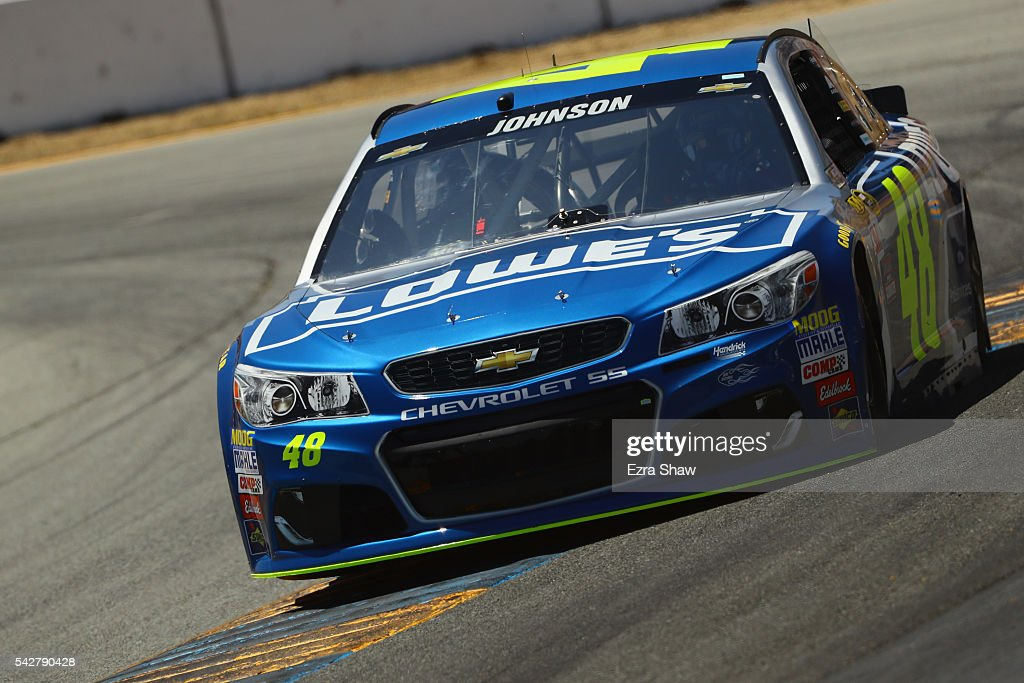 <a gi-track='captionPersonalityLinkClicked' href=/galleries/search?phrase=Jimmie+Johnson+-+Nascar+Race+Driver&family=editorial&specificpeople=171519 ng-click='$event.stopPropagation()'>Jimmie Johnson</a>, driver of the #48 Lowe's Chevrolet, practices for the NASCAR Sprint Cup Series Toyota/Save Mart 350 at Sonoma Raceway on June 24, 2016 in Sonoma, California.