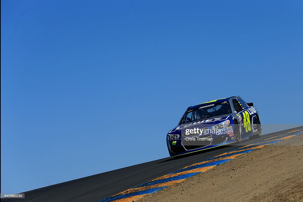 Jimmie Johnson, driver of the #48 Lowe's Chevrolet, practices for the NASCAR Sprint Cup Series Toyota/Save Mart 350 at Sonoma Raceway on June 24, 2016 in Sonoma, California.