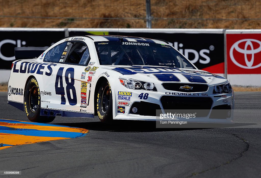 Jimmie Johnson, driver of the #48 Lowe's Chevrolet, qualifies for the NASCAR Sprint Cup Series Toyota/Save Mart 350 at Sonoma Raceway on June 21, 2014 in Sonoma, California.