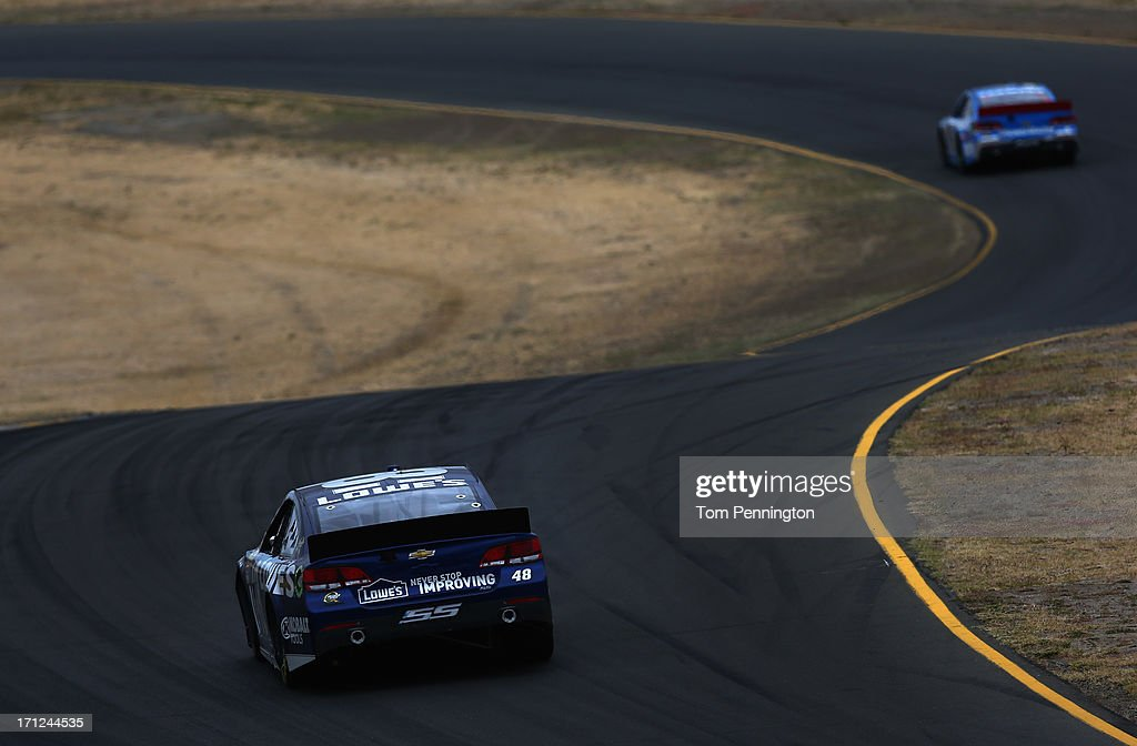 Jimmie Johnson, driver of the #48 Lowe's Chevrolet, races during the NASCAR Sprint Cup Series Toyota/Save Mart 350 at Sonoma Raceway on June 23, 2013 in Sonoma, California.