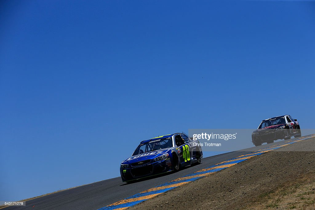 <a gi-track='captionPersonalityLinkClicked' href=/galleries/search?phrase=Jimmie+Johnson+-+Nascar+Race+Driver&family=editorial&specificpeople=171519 ng-click='$event.stopPropagation()'>Jimmie Johnson</a>, driver of the #48 Lowe's Chevrolet, races during the NASCAR Sprint Cup Series Toyota/Save Mart 350 at Sonoma Raceway on June 26, 2016 in Sonoma, California.