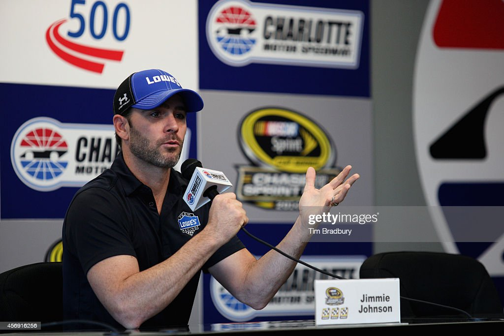 Jimmie Johnson driver of the Lowe's Chevrolet speaks with the media during a press conference prior to practice for the NASCAR Sprint Cup Series Bank...