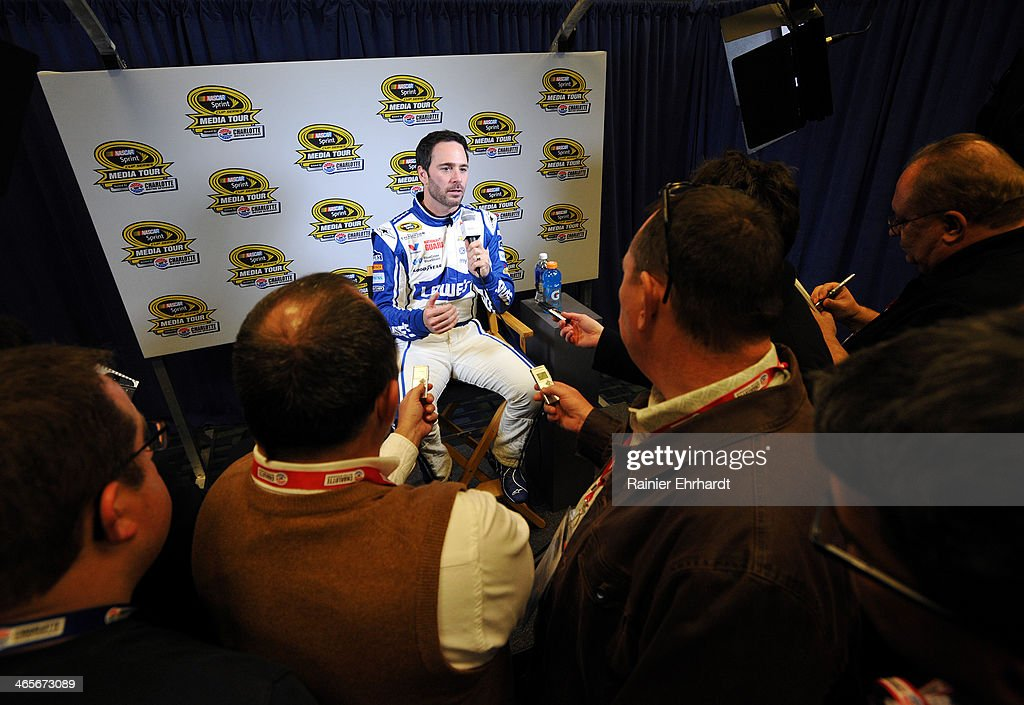 Jimmie Johnson, driver of the #48 Lowes Chevrolet, speaks with the media during the NASCAR Sprint Media Tour at Charlotte Convention Center on January 28, 2014 in Charlotte, North Carolina.