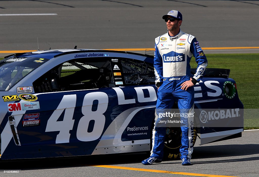<a gi-track='captionPersonalityLinkClicked' href=/galleries/search?phrase=Jimmie+Johnson+-+Nascar+Race+Driver&family=editorial&specificpeople=171519 ng-click='$event.stopPropagation()'>Jimmie Johnson</a>, driver of the #48 Lowe's Chevrolet, stands on the grid during qualifying for the NASCAR Sprint Cup Series Daytona 500 at Daytona International Speedway on February 14, 2016 in Daytona Beach, Florida.