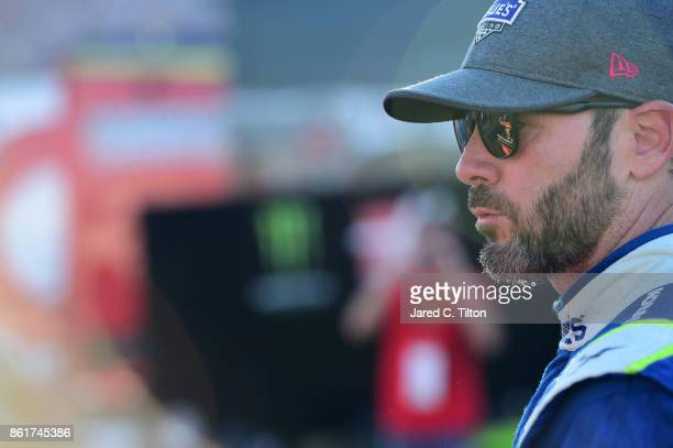 Jimmie Johnson driver of the Lowe's Chevrolet walks away from his car after a wreck during the Monster Energy NASCAR Cup Series Alabama 500 at...
