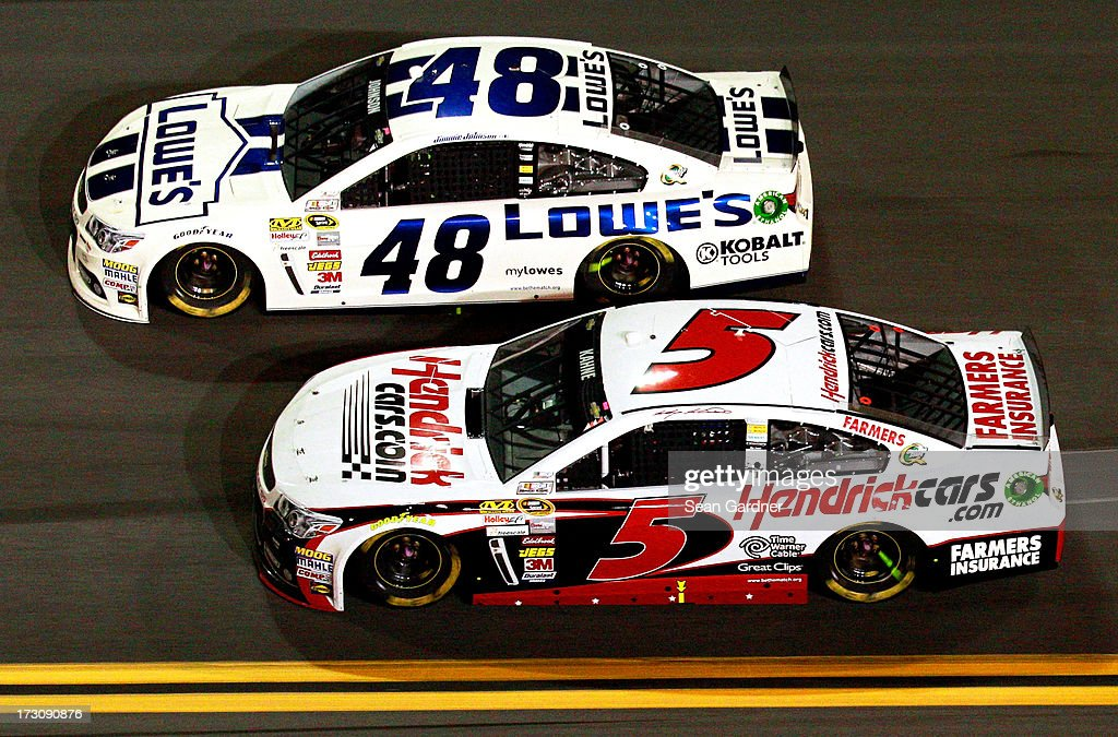 Jimmie Johnson, driver of the #48 Lowe's Dover White Chevrolet, leads Kasey Kahne, driver of the #5 Hendrickcars.com Chevrolet, during the NASCAR Sprint Cup Series Coke Zero 400 at Daytona International Speedway on July 6, 2013 in Daytona Beach, Florida.