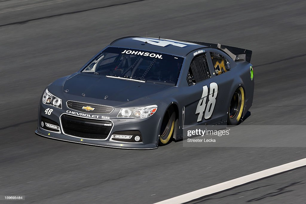 Jimmie Johnson, driver of the #48 Lowes, in action during NASCAR Testing at Charlotte Motor Speedway on January 18, 2013 in Charlotte, North Carolina.