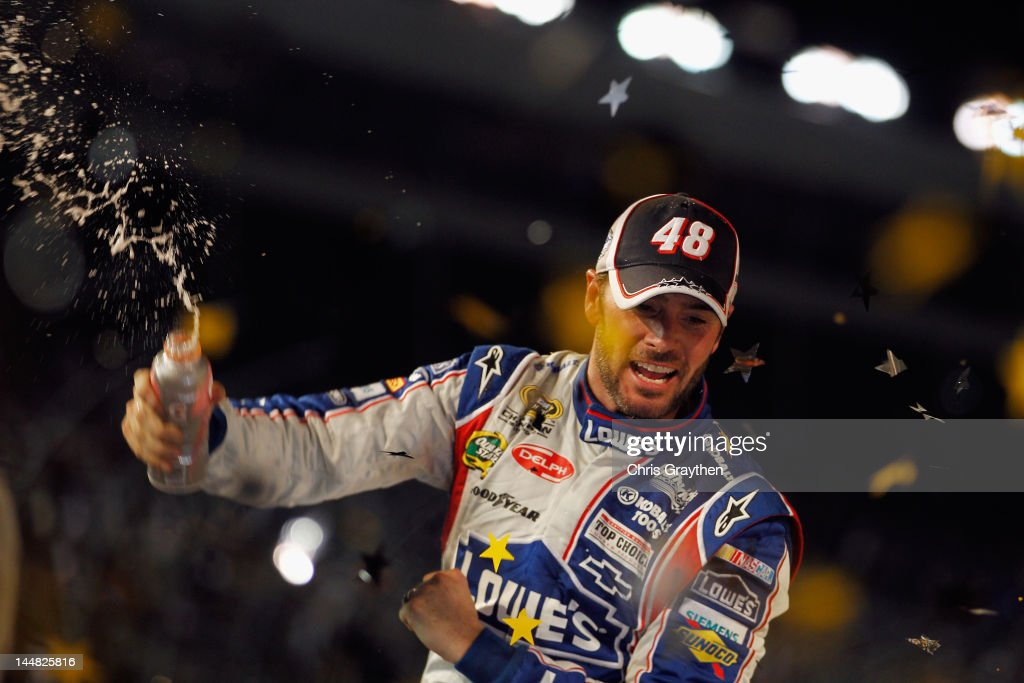 <a gi-track='captionPersonalityLinkClicked' href=/galleries/search?phrase=Jimmie+Johnson+-+Nascar+Race+Driver&family=editorial&specificpeople=171519 ng-click='$event.stopPropagation()'>Jimmie Johnson</a>, driver of the #48 Lowe's Patriotic Chevrolet, celebrates in Victory Lane after winning the NASCAR Sprint All-Star Race at Charlotte Motor Speedway on May 19, 2012 in Charlotte, North Carolina.