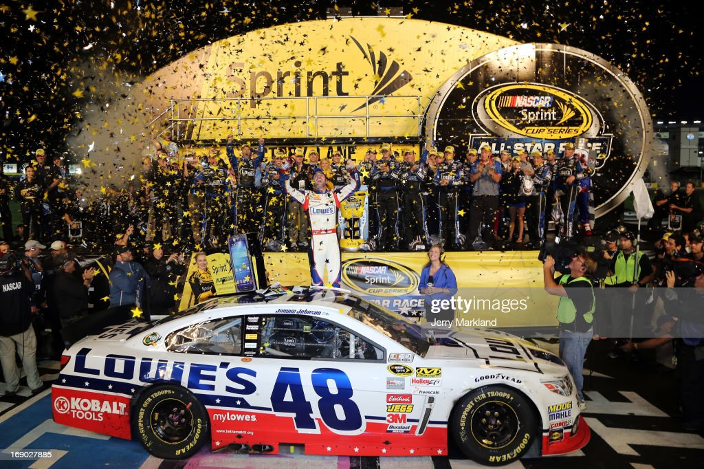 <a gi-track='captionPersonalityLinkClicked' href=/galleries/search?phrase=Jimmie+Johnson+-+Nascar+racerf%C3%B6rare&family=editorial&specificpeople=171519 ng-click='$event.stopPropagation()'>Jimmie Johnson</a>, driver of the #48 Lowe's Patriotic Chevrolet, celebrates in Victory Lane after winning the NASCAR Sprint Cup Series All-Star race at Charlotte Motor Speedway on May 18, 2013 in Concord, North Carolina.