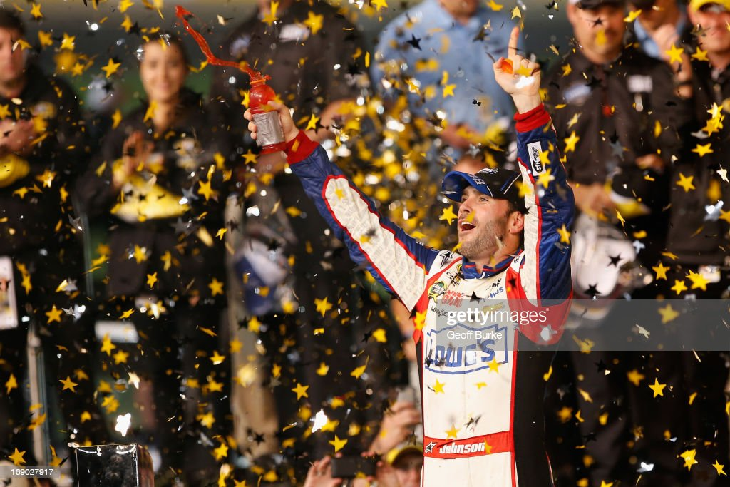 <a gi-track='captionPersonalityLinkClicked' href=/galleries/search?phrase=Jimmie+Johnson+-+Nascar+Race+Driver&family=editorial&specificpeople=171519 ng-click='$event.stopPropagation()'>Jimmie Johnson</a>, driver of the #48 Lowe's Patriotic Chevrolet, celebrates in Victory Lane after winning the NASCAR Sprint Cup Series All-Star race at Charlotte Motor Speedway on May 18, 2013 in Concord, North Carolina.