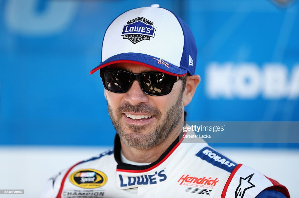 <a gi-track='captionPersonalityLinkClicked' href=/galleries/search?phrase=Jimmie+Johnson+-+Nascar-Pilot&family=editorial&specificpeople=171519 ng-click='$event.stopPropagation()'>Jimmie Johnson</a>, driver of the #48 Lowe's Patriotic Chevrolet, stands in the garage area during practice for the NASCAR Sprint Cup Series Coca-Cola 600 at Charlotte Motor Speedway on May 28, 2016 in Charlotte, North Carolina.
