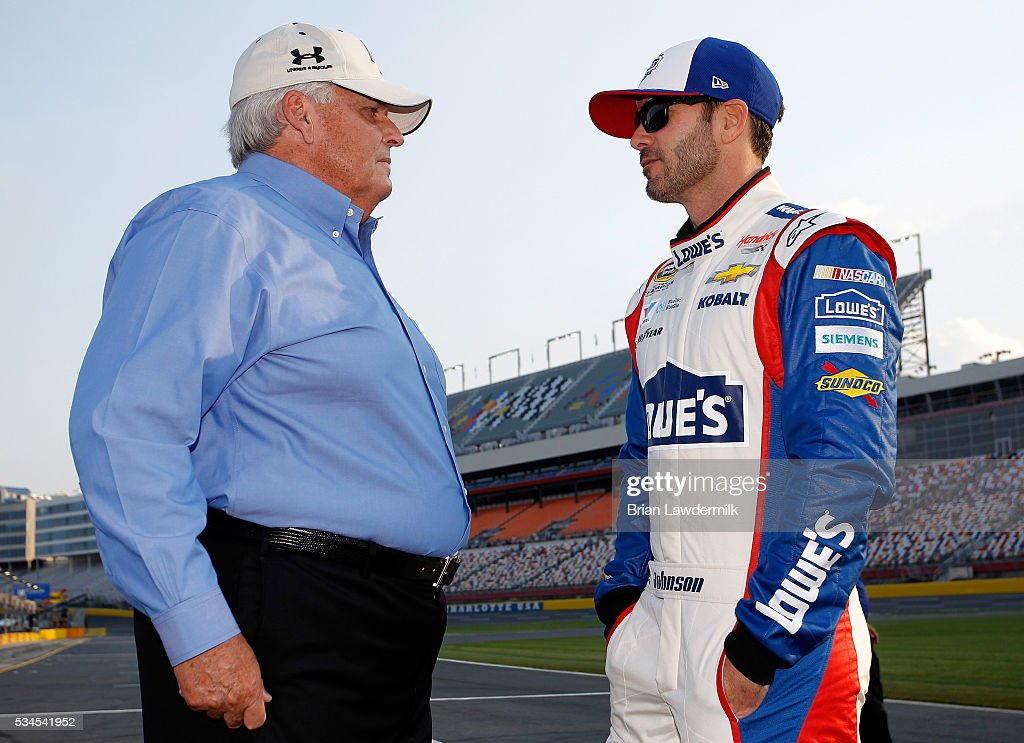 <a gi-track='captionPersonalityLinkClicked' href=/galleries/search?phrase=Jimmie+Johnson+-+Nascar+Race+Driver&family=editorial&specificpeople=171519 ng-click='$event.stopPropagation()'>Jimmie Johnson</a>(right), driver of the #48 Lowe's Patriotic Chevrolet, talks with team owner <a gi-track='captionPersonalityLinkClicked' href=/galleries/search?phrase=Rick+Hendrick&family=editorial&specificpeople=596436 ng-click='$event.stopPropagation()'>Rick Hendrick</a> prior to qualifying for the NASCAR Sprint Cup Series Coca-Cola 600 at Charlotte Motor Speedway on May 27, 2016 in Charlotte, North Carolina.