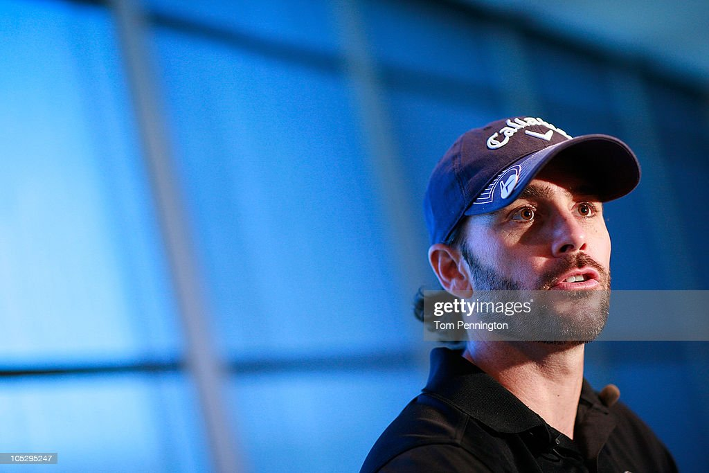 <a gi-track='captionPersonalityLinkClicked' href=/galleries/search?phrase=Jimmie+Johnson+-+Pilota+Nascar&family=editorial&specificpeople=171519 ng-click='$event.stopPropagation()'>Jimmie Johnson</a>, driver of the #48 Lowe's/<a gi-track='captionPersonalityLinkClicked' href=/galleries/search?phrase=Jimmie+Johnson+-+Pilota+Nascar&family=editorial&specificpeople=171519 ng-click='$event.stopPropagation()'>Jimmie Johnson</a> Foundation Chevrolet, talks with the media after competing in a three-hole golf skills contest against J.J. Henry, PGA Tour Pro, at Texas Motor Speedway on October 13, 2010 in Fort Worth, Texas.