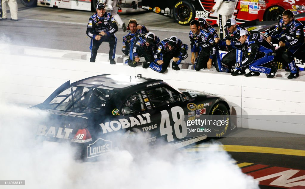 <a gi-track='captionPersonalityLinkClicked' href=/galleries/search?phrase=Jimmie+Johnson+-+Nascar+Race+Driver&family=editorial&specificpeople=171519 ng-click='$event.stopPropagation()'>Jimmie Johnson</a>, driver of the #48 Lowe's/Kobalt Tools Chevrolet, celebrates winning the NASCAR Sprint Cup Series Bojangles' Southern 500 with crew members at Darlington Raceway on May 12, 2012 in Darlington, South Carolina. This is the 200th Win for Hendrick Motorsports.