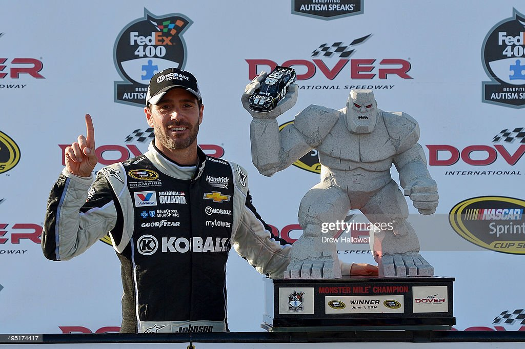 <a gi-track='captionPersonalityLinkClicked' href=/galleries/search?phrase=Jimmie+Johnson+-+Nascar+Race+Driver&family=editorial&specificpeople=171519 ng-click='$event.stopPropagation()'>Jimmie Johnson</a>, driver of the #48 Lowe's/Kobalt Tools Chevrolet, celebrates in victory lane after winning the NASCAR Sprint Cup Series FedEx 400 Benefiting Autism Speaks at Dover International Speedway on June 1, 2014 in Dover, Delaware.