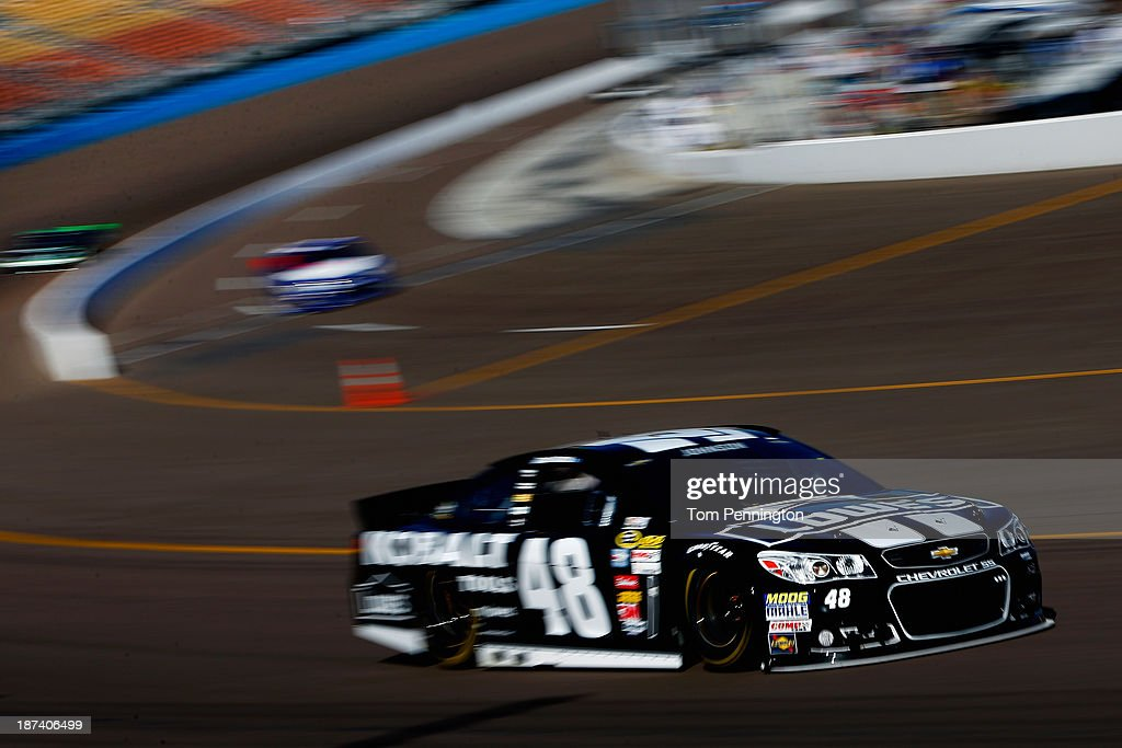 Jimmie Johnson, driver of the #48 Lowe's/Kobalt Tools Chevrolet, practices for the NASCAR Sprint Cup Series Advocare 500 at Phoenix International Raceway on November 8, 2013 in Avondale, Arizona.