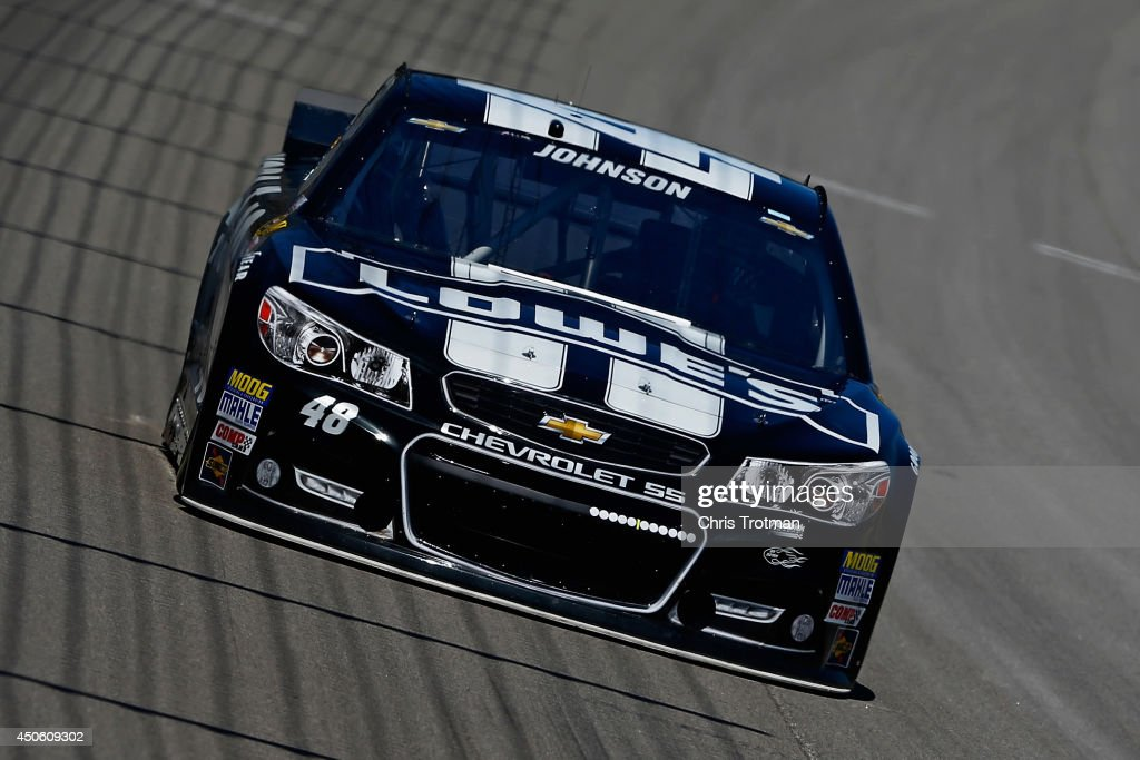 Jimmie Johnson, driver of the #48 Lowe's/Kobalt Tools Chevrolet, practices for the NASCAR Sprint Cup Series Quicken Loans 400 at Michigan International Speedway on June 14, 2014 in Brooklyn, Michigan.
