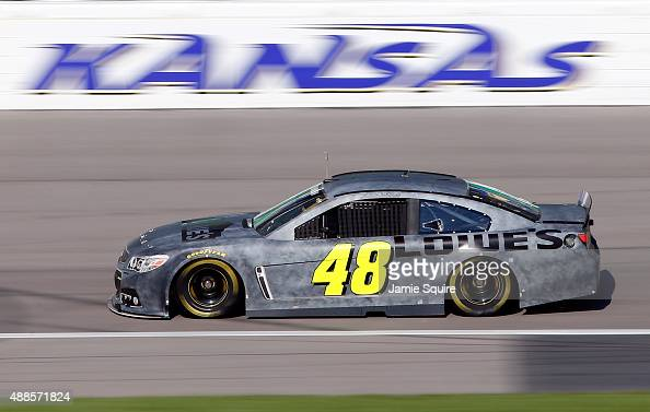 Jimmie Johnson driver of the Lowe's/Kobalt Tools Chevrolet practices during NASCAR testing at Kansas Speedway on September 16 2015 in Kansas City...