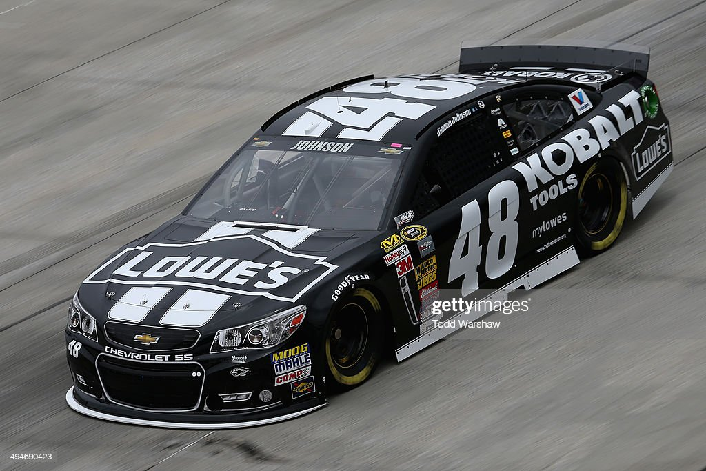 Jimmie Johnson, driver of the #48 Lowe's/Kobalt Tools Chevrolet, practices for the NASCAR Sprint Cup Series FedEx 400 Benefiting Autism Speaks at Dover International Speedway on May 30, 2014 in Dover, Delaware.