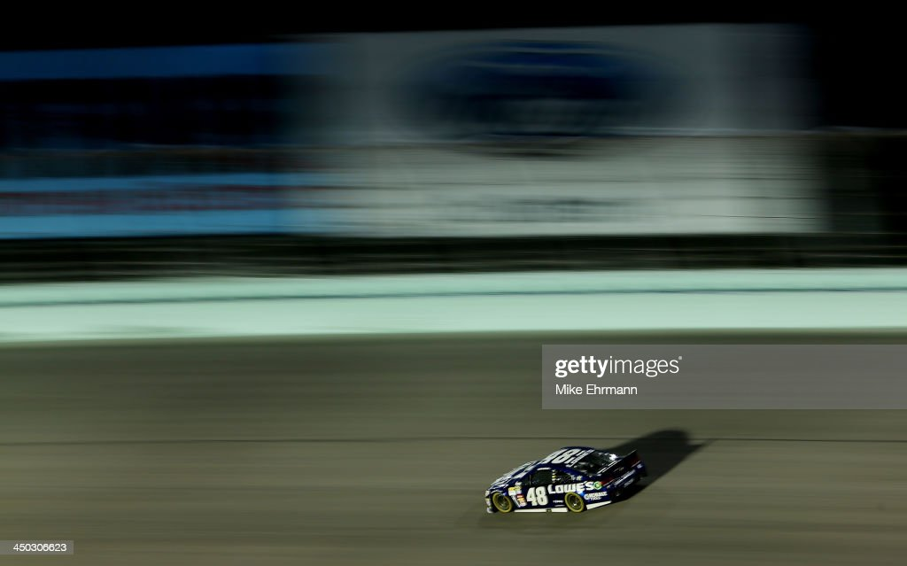 Jimmie Johnson, driver of the #48 Lowe's/Kobalt Tools Chevrolet, races during the NASCAR Sprint Cup Series Ford EcoBoost 400 at Homestead-Miami Speedway on November 17, 2013 in Homestead, Florida.
