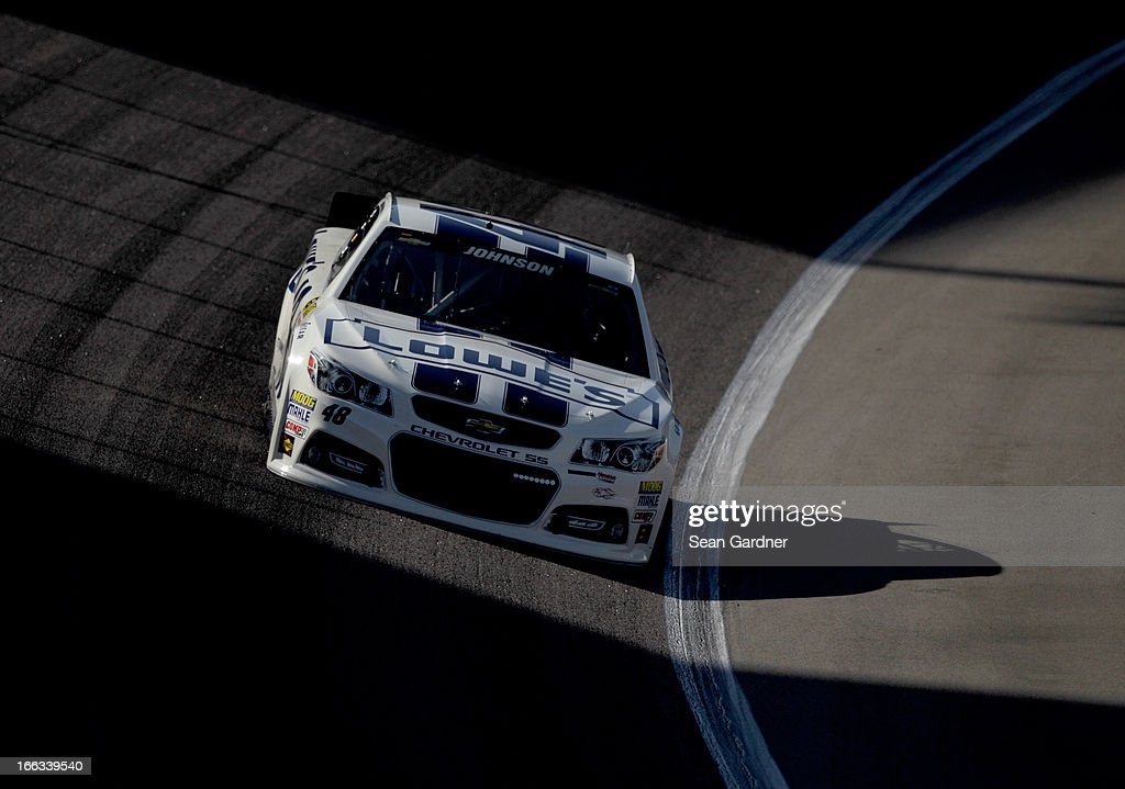 <a gi-track='captionPersonalityLinkClicked' href=/galleries/search?phrase=Jimmie+Johnson+-+Nascar+Race+Driver&family=editorial&specificpeople=171519 ng-click='$event.stopPropagation()'>Jimmie Johnson</a> drives the #48 Lowe's Dover White Chevrolet during NASCAR Sprint Cup Series Gen-6 Testing at Texas Motor Speedway on April 11, 2013 in Fort Worth, Texas.
